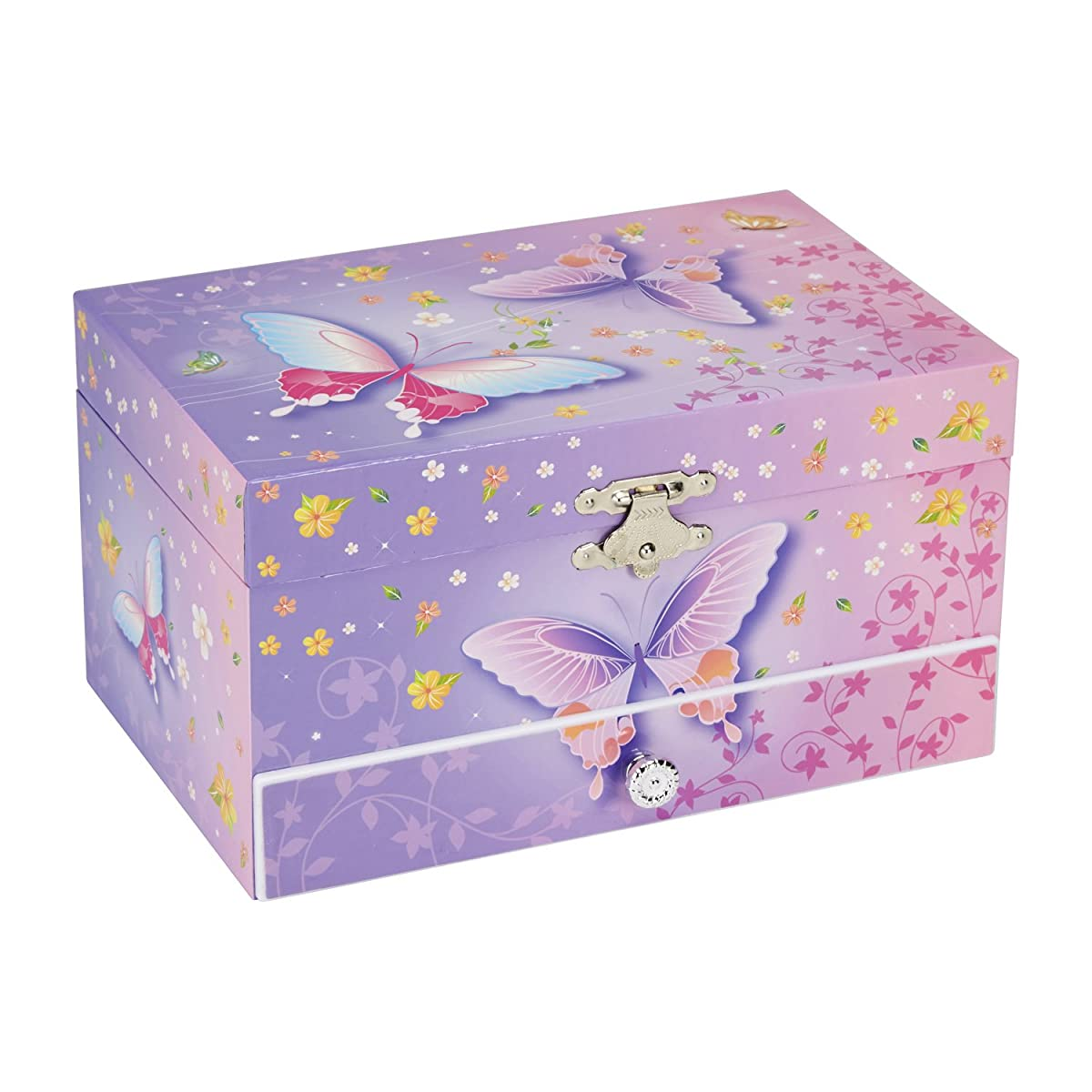 Pink Storage Bins Girls Flower Drawers Chest Dresser: JewelKeeper Butterfly Flower Music Jewelry Box With