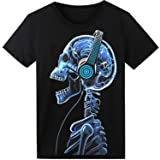 LED T Shirt Sound Activated Glow Shirts Light up Equalizer Clothes for Party (Color: Headphone Skull, Tamaño: XX-Large)