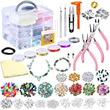 PP OPOUNT Deluxe Jewelry Making Supplies Kit with Instructions Includes Assorted Beads, Charms, Findings, Bead Wire and Cord, Pliers, Caliper and Storage Case for Necklace, Bracelet, Earrings Making