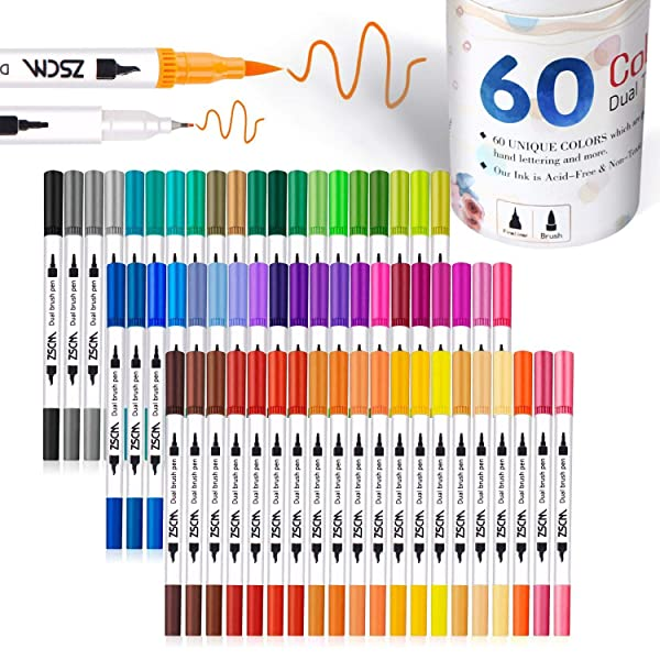 ZSCM 60 Colors Dual Tip Brush Pens Art Markers Set, Fine and Brush Tip Colored Dual Pen for Kid Adult Coloring Book Drawing Bullet Journal Planner Calendar Art Projects (Color: 60 Colors)