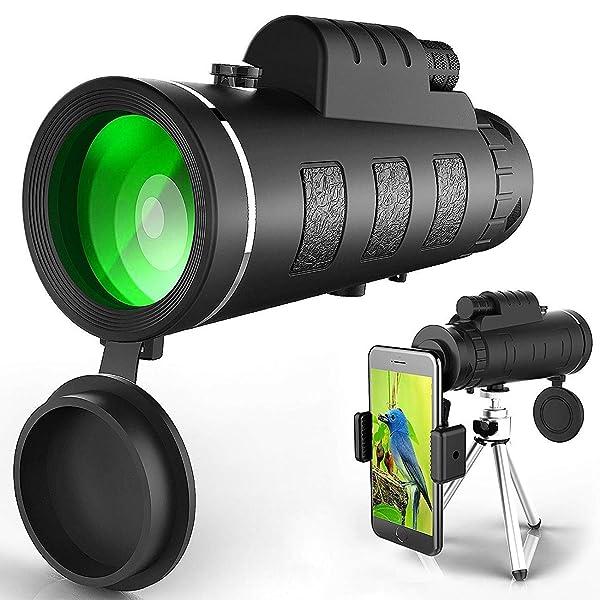 Monocular Telescope, 40x60 High Powered Monocular with Smartphone Adapter & Tripod for Bird Watching Hunting Hiking Travelling 820DAN002