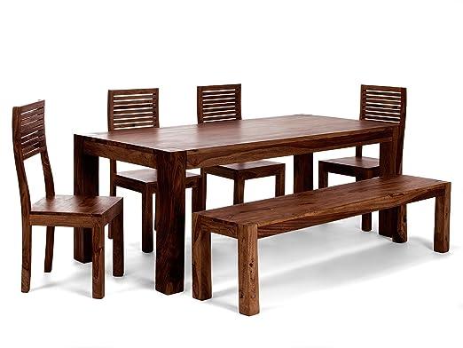 Massivum Palison Tischgruppe, Holz, braun, 90 x 200 x 77 cm