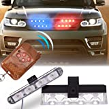 Molie 12V 4LED Mini LED Flash StrobeCar Police Emergency warning Light High Brightness Car Styling 3 Flashing Fog lights (Color: Red-blue)