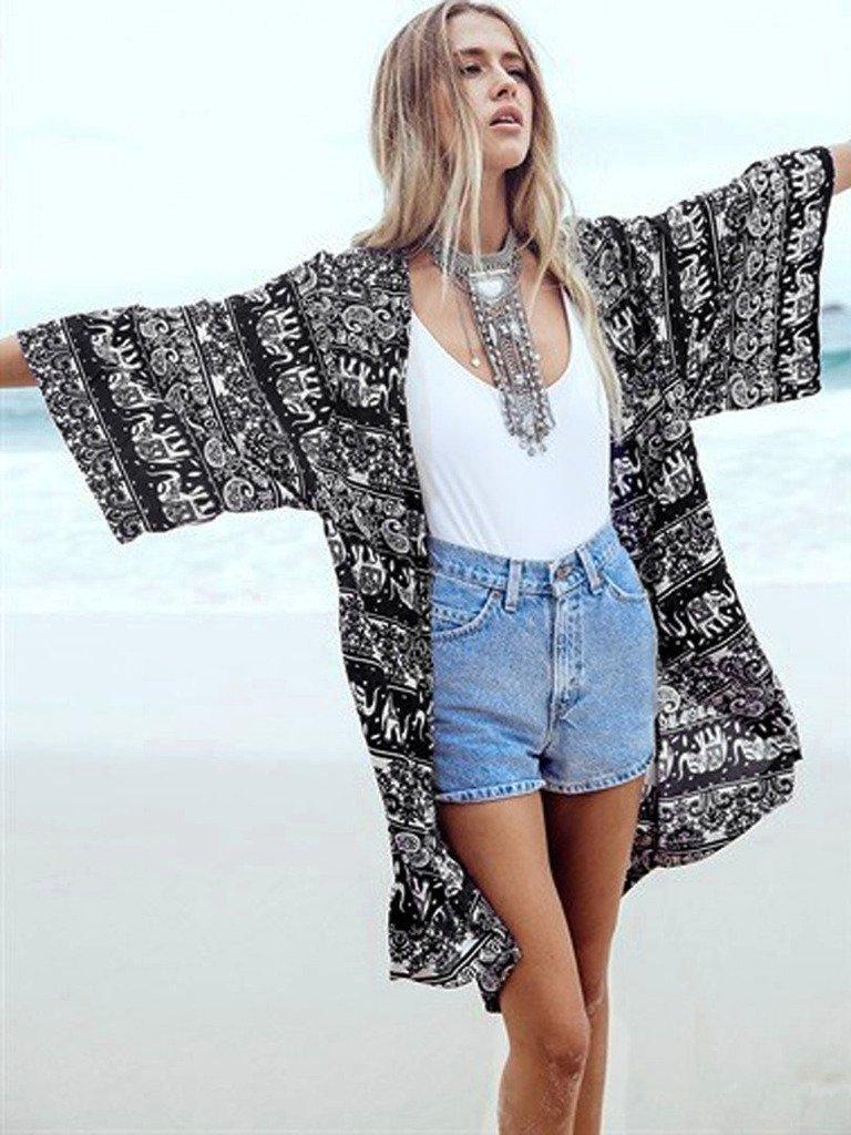 Persun Women Floral Chiffon Shawl Kimono Cover-up Jackets 3