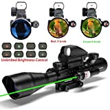 UUQ C4-12X50 Rifle Scope Dual Illuminated Reticle W/ Green Laser and 4 Tactical Holographic Dot Sight (Color: Green Laser)