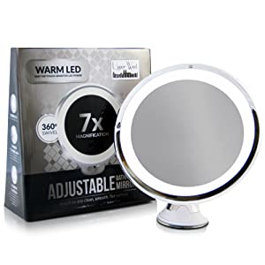 LED Makeup Mirror - Adjustable 7x Magnification top rated lighted makeup mirror. Warm LED Tap Light Bathroom Mirror. Wireless & Compact as Travel Mirror Reviews