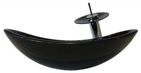 Novatto TARTARUGA Oval Glass Vessel Bathroom Sink Set, Chrome