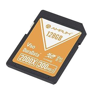 128GB V60 UHS-II SDXC SD Card - Amplim Blazing Fast 300MB/S (2000X) UHS2 Extreme High Speed 128 GB/128G SD XC Memory Card. 4K 8K Video Camera UHSII Card for Fujifilm, Nikon, Olympus, Panasonic, Sony (Color: V60 128GB, Tamaño: 128GB)