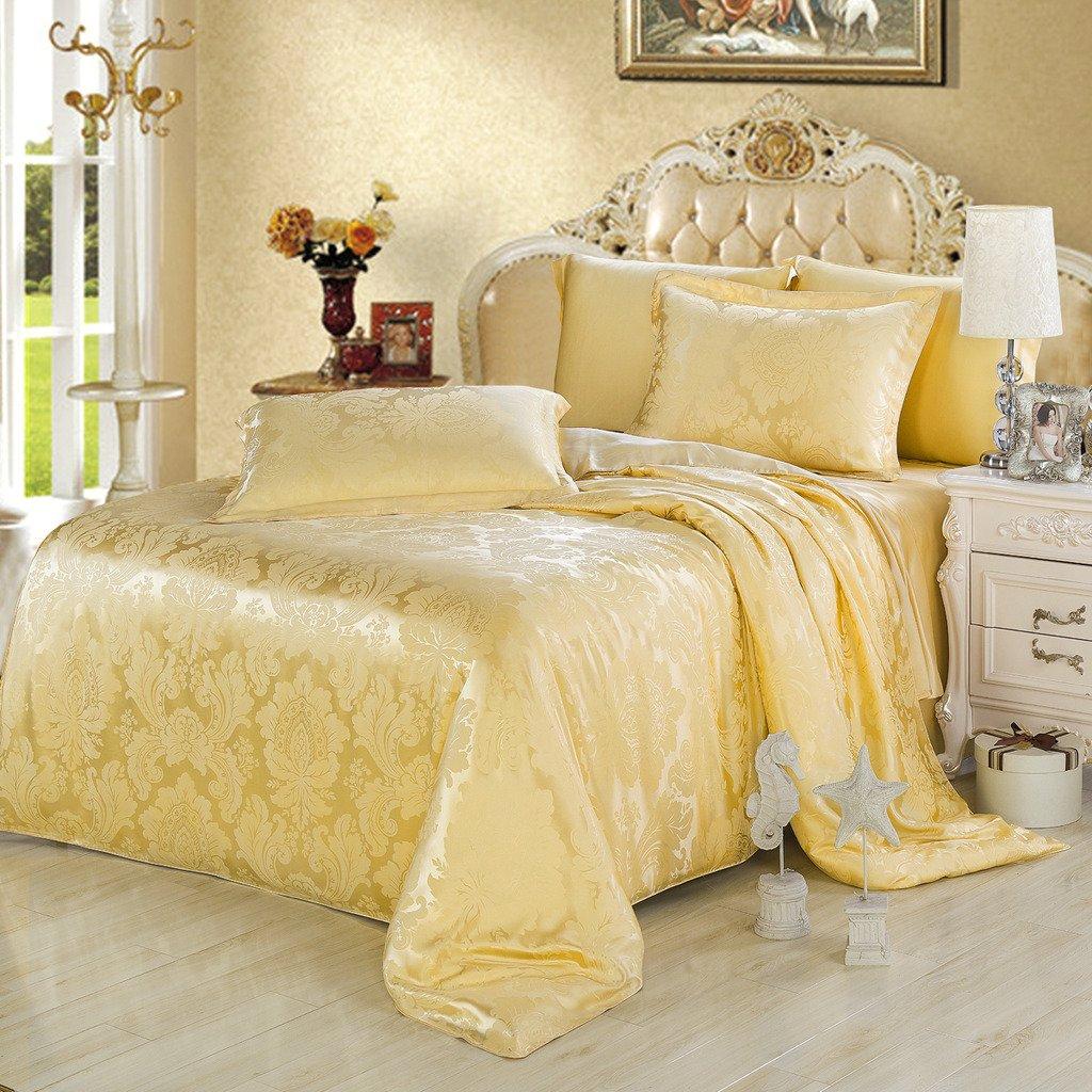 Orifashion Limited Edition 7-Piece 100% Silk Gold Floral Pattern Jacquard Bedding Set, California King Size