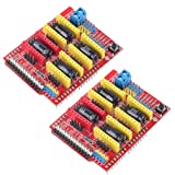 HiLetgo® 2pcs V3 Engraver Shield 3D Printer CNC Expansion Board A4988 Driver Board for Arduino (Color: Red, Tamaño: Small)