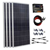 ECO-WORTHY 600W 24V Polycrystalline Solar Panel Kit: 4pcs 150W Poly Solar Panels+Auto Switch LCD Intelligent Regulator Charge Controller+MC4 Solar Cable+Y MC4 Connectors+Solar Panel Mounting Brackets
