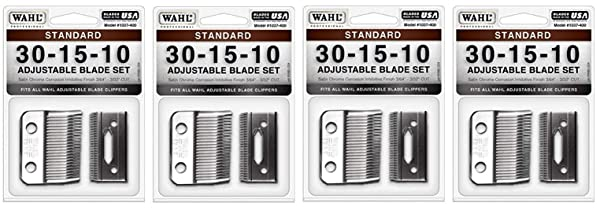 Wahl Professional Animal #30-15-10 Standard Adjustable Blade Set for Wahl's Pro Ion, Iron Horse, Show Pro Plus, U-Clip, and Deluxe U-Clip Pet, Dog, and Horse Clippers (#1037-400) (F?ur Pa?k) (Tamaño: F?ur Pa?k)