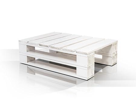 PALETTI DUO Couchtisch Massivholztisch Palettentisch Beistelltisch Tisch aus Paletten in 60x90 cm weiß lackiert, weiss lackiert