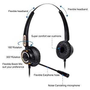 Corded RJ9 Phone Headset Binaural with Noise Canceling