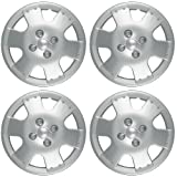 OxGord Hub-caps for 00-05 Toyota Echo (Pack of 4) Wheel Covers 14 inch Snap On Silver (Color: Black, Tamaño: 4pc)