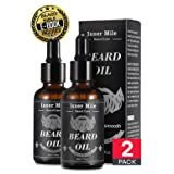 BEST DEAL 2 Organic Beard Oil Serum Conditioner For Men Beard Mustaches Growth, Soften, Moisturizing & Strengthen Viking - 100% Pure Natural Ingredients (Super Light Natural Magic Scent) (Color: Beard Oil)