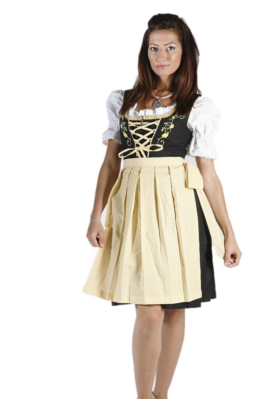 3tlg. besticktes Dirndl Set Schwarz Gelb mit Bluse und Schürze kaufen