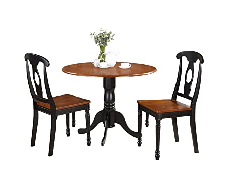 East West Furniture DLKE3-BCH-W 3-Piece Kitchen Table Set, Black/Cherry Finish