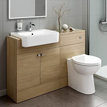 Luxury Oak Vanity Basin Sink Unit + Back to Wall Toilet Storage Furniture Set MV2009