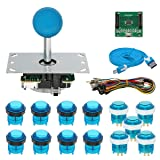 Gamelec Arcade Game Buttons and Joysctick Kit with 5 Modes Buttons Lighting for Windows System, Raspberry Pi,Mame,Jamma,PS3,MAC,Linux and Android Video Games (Blue)