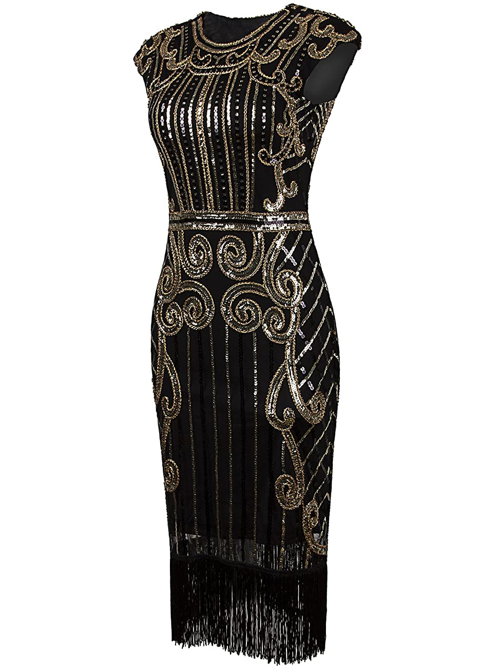 Vijiv 1920s Vintage Inspired Sequin Embellished Fringe Long Gatsby Flapper Dress 2