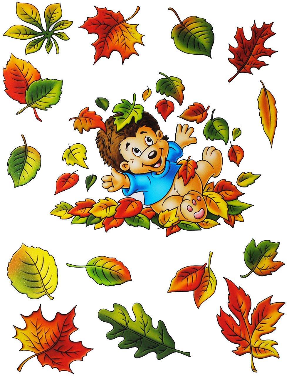 """2 versch. Bögen: statisch haftende Fensterbilder – """" Herbst – Motive """" – Blätter / Eicheln sammeln – Laubblätter / Igel / Maus / Schnecke – Pilz / Kürbis – wiederverwendbar + selbstklebend / Sticker Fenstersticker Aufkleber – Herbstfrüchte Kastanien Kürbisse – Fensterbild – z.B. für Fenster und Spiegel – Fensterdeko Fensterfolie Kinderzimmer Deko günstig online kaufen"""