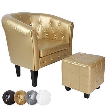 Miadomodo - CSEL02Gold-1Set - Sillón Chesterfield con reposapiés - Estampado rombos- Dorado - Diferentes colores a elegir