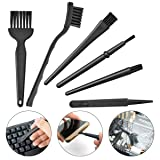 6 in 1 Plastic Small Portable Handle Nylon Anti Static Brushes Cleaning Keyboard Brush Kit, Black (Zip Bag as Bonus)