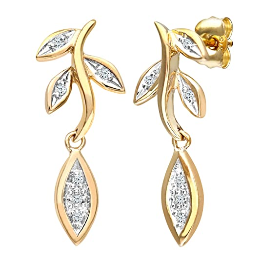 Naava Women's 9 ct Yellow Gold Diamond Flower Drop Earrings