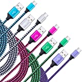 USB Type C Charger Cable, NNIBER 5-Pack 6Ft Fast Charging Cord Compatible Samsung Galaxy Note 9 8 7 S9/S8 Plus C9 /C5 /C7 pro/A8 2018/A7/Tab S3 LG Stylo 4 V20 V30 G6 G5 Plus G7 ThinQ Nexus 6P/5X (Color: 10-Rose-red, Blue, Purple, Green, White, Tamaño: 6 Feet)