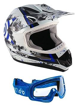 Enduro casque Box-MX-5 casque motocross S Blue (Bleu lunettes)
