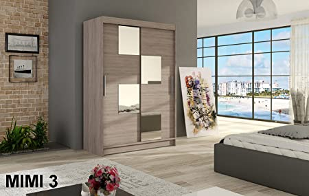 WARDROBE MIMI 3 TRUFFLE 120 cm wide 2 sliding doors many colours