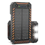 Solar Charger, X-DRAGON 15000mAh Power Bank Portable Dustproof Shockproof Dual USB Solar Panel Battery Charger with Dual Super Bright LED Light for iPhone, Samsung Galaxy and More -Orange