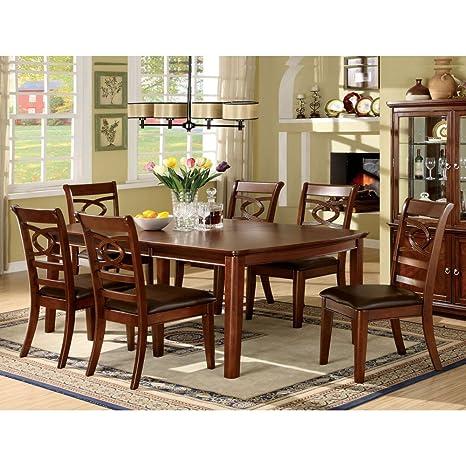 Furniture of America Presteena Brown Cherry 7 Piece Dining Set