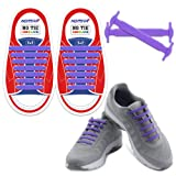 HOMAR No Tie Kid Shoelaces - Best in Sports Fan Shop - Silicon Elastic Shoe Laces Multicolor to Choose Perfect Any Size Kids Footwear - Purple