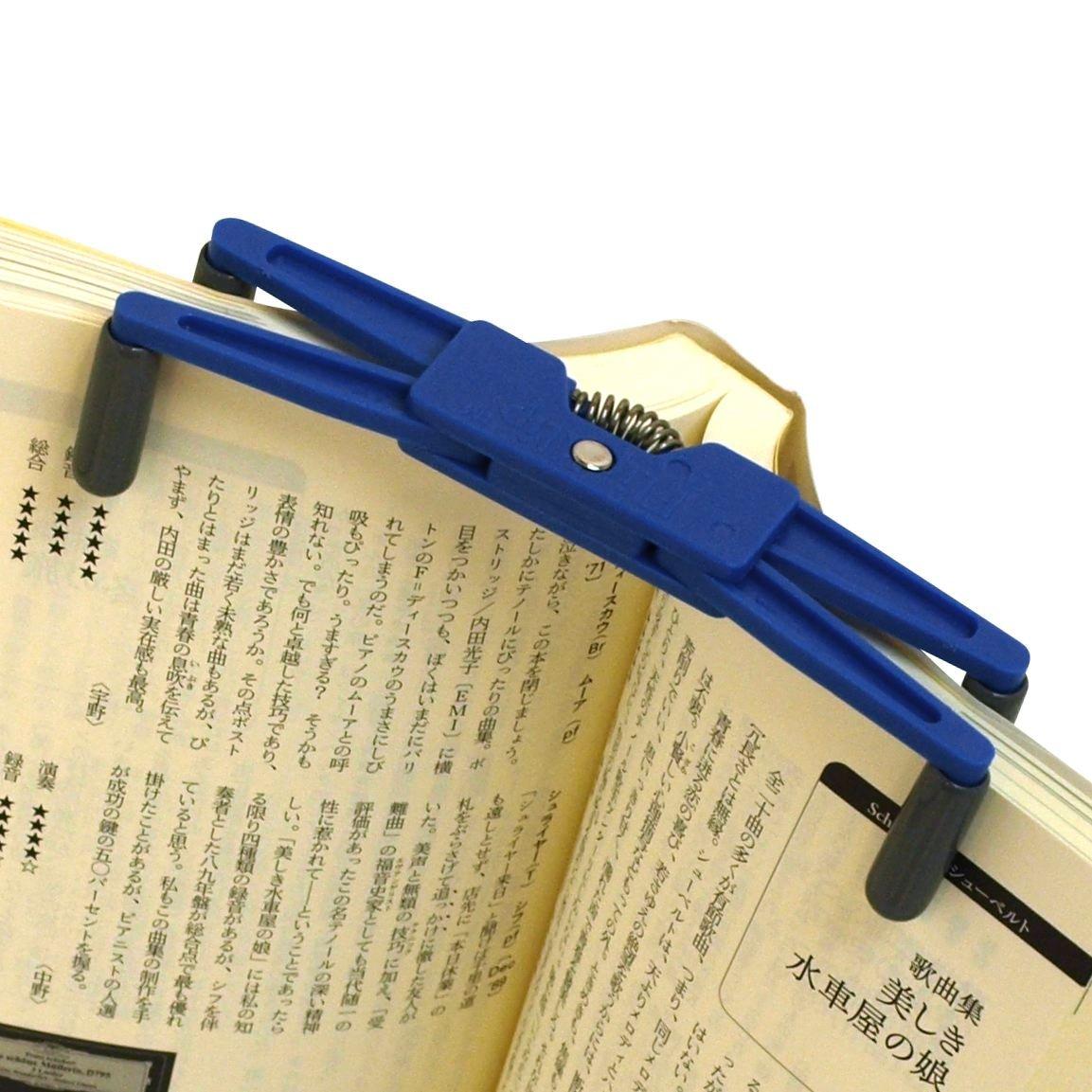 フリップ・クリップで本の上部を挟んでいる画像(Amazonから引用しています)