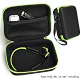 CaseSack Bone Conduction Headphones Case for Aftershokz Trekz Titanium/Mini/Air Bone Conduction, Bluez 2, 2S; KSCAT, Sades, DIGICare, allmity, Yaklee, Abco Tech, LQING, longee, HYON, 4inloveme, koar (Color: Ballistic Black+Green Zip)