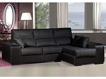 Sofa chaiselongue ,medida 275 Tapizado similpiel y tela (Negro y Negro)