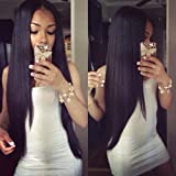 Eayon Hair 6A Virgin Hair Lace Front Wig Brazilian Remy Human Hair Straight Hair Lace Wigs with Baby Hair for Women 130% Density Natural Color 18inch (Color: 130% Lace Front, Tamaño: 18 inch)
