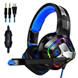 ZIUMIER Gaming Headset PS4 Headset, Xbox One Headset with Noise Canceling Mic & RGB Light, PC Headset with Stereo Surround Sound, Over Ear Headphones for PC, PS4, Xbox One, Laptop (Color: blue)