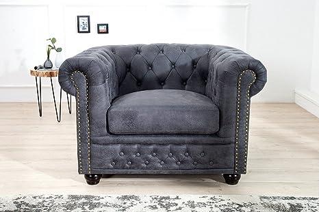 Casa Padrino Sillón Chesterfield Antiguo gris - sillón gris antiguo - sillón de salón