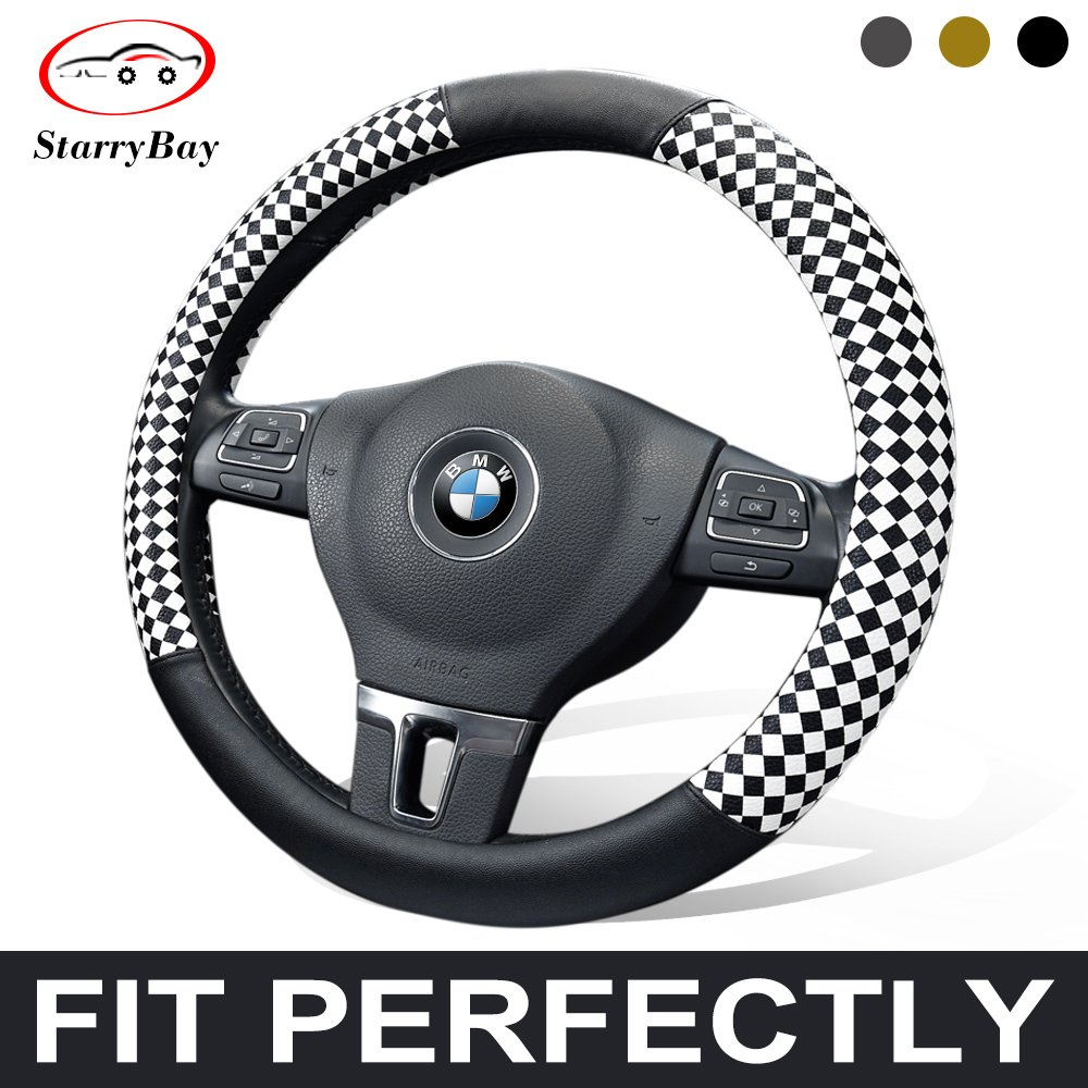 Starrybay® Grid Sport Type Auto Car Steering Wheel Cover Anti-slip 38cm 15