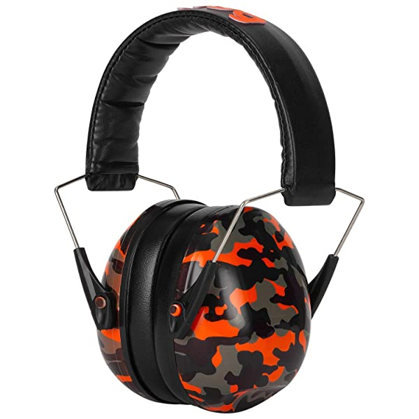 Snug Kids Earmuffs/Hearing Protectors - Adjustable Headband Ear Defenders For Children and Adults (Orange Camo) (Color: Orange Camo)