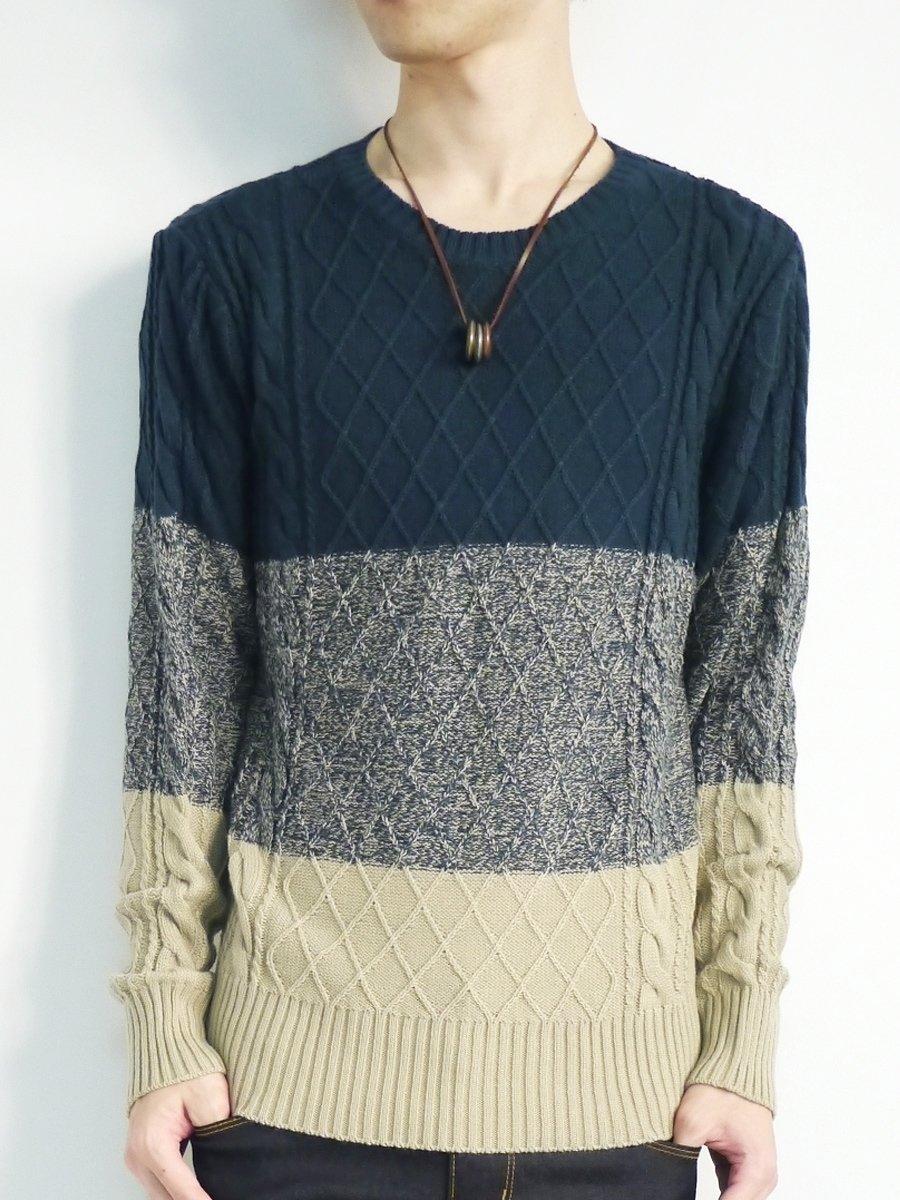 (モノマート) MONO-MART 5color セーター メンズ ニット Uネック ケーブル編み ボーダー フィッシャーマン