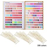 Makartt 308 Nail Color Chart Display Book Golden Nail Polish UV Gel Color Display Nail Salon Tools, A-13 (Color: 308 Nail Color Chart)