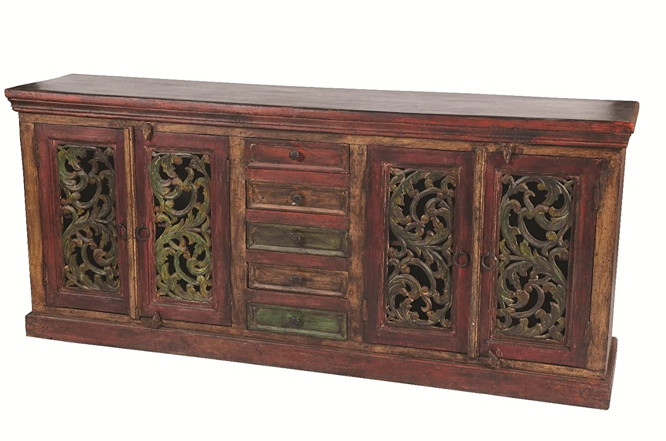 Moti Furniture Arvada Buffet with 4 Carved Doors 5 Drawers 0