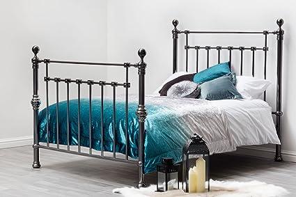 York Elegant Schwarz Nickel Finish modernes Design Bett von Sleep Design. Double oder King. Modernes Viktorianischer Stil, King Size