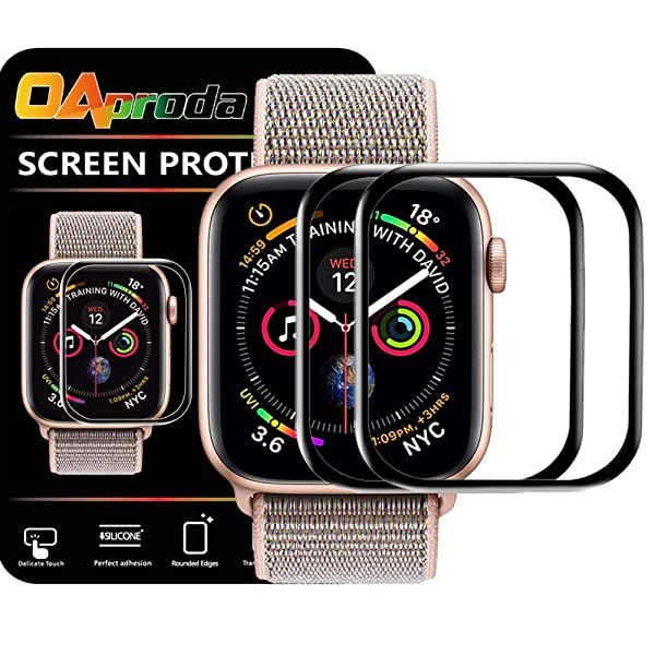 OAproda 2 Pack Screen Protector for Apple Watch Series 4/Series 5 40mm [Full Coverage Easy Install] Bubble-Free High Transparency Protector Film with Installation Frame (Tamaño: 40mm)