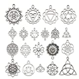 38 PCS Lotus Flower Lacey Chakra Meditation Hindu Sanskrit Manipura Charms Collection, Mix Silver Metal Charm Pendant Supplies Findings for Jewelry Making (HM144) (Color: Flower HM144)