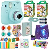 Fujifilm Instax Mini 9 Camera + Fuji Instant Instax Film (40 Sheets) Includes Galaxy Camera Case + Assorted Frames + Photo Album + 4 Color Filters and More Top Accessories Bundle (Star Ice Blue) (Color: Ice Blue)